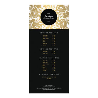 Modern Gold Flowers Black Circle Rack Card