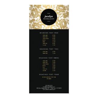 Modern Gold Flowers Black Circle Rack Card