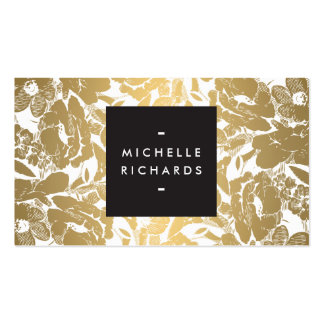 Modern Gold Flowers Business Card