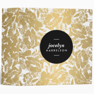 Modern Gold Flowers Personalized Binder