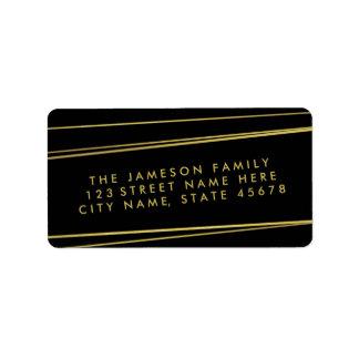 Modern Gold Foil Address Label / Black