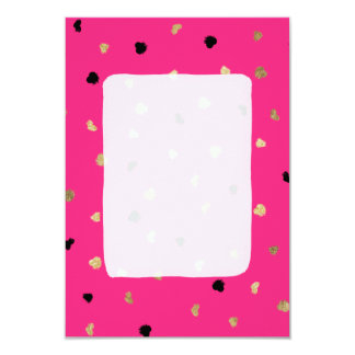 Modern gold foil brushstrokes bright neon pink card