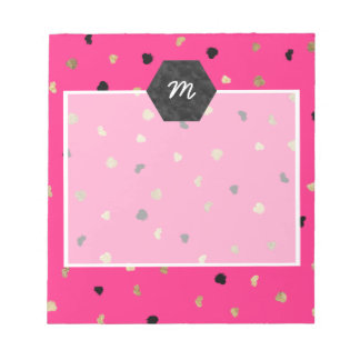 Modern gold foil brushstrokes bright neon pink notepad
