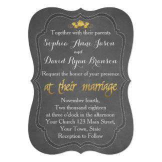 Modern Gold Foil Chalkboard Wedding Invitation