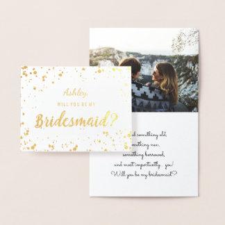 Modern gold foil confetti bridesmaid photo foil card