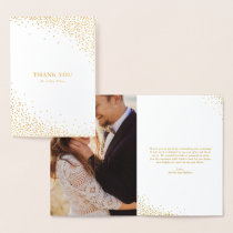 Modern Gold Foil Confetti Dots Wedding Thank You Foil Card