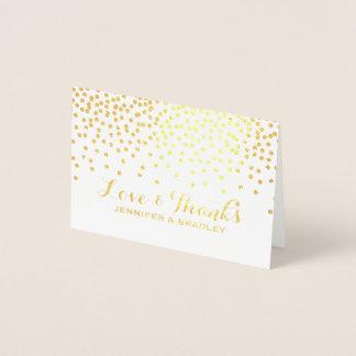 Modern Gold Foil Confetti Dots Wedding Thank You Foil Card