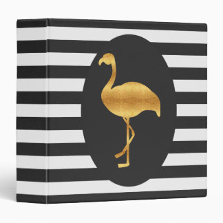 Modern Gold Foil Flamingo Binder