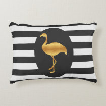 Modern Gold Foil Flamingo Black and White Stripes Accent Pillow