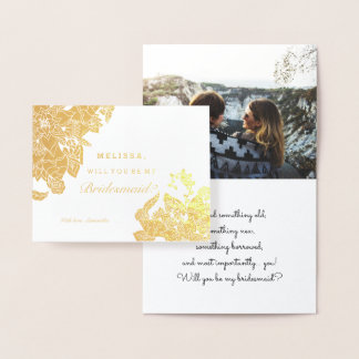 Modern gold foil floral bridesmaid photo foil card