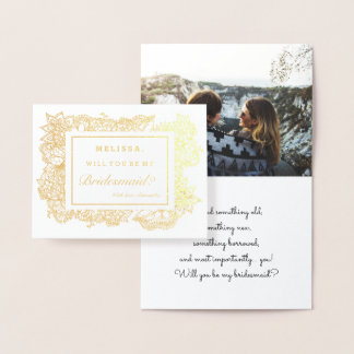 Modern gold foil floral frame bridesmaid photo foil card