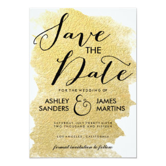 MODERN GOLD FOIL SAVE THE DATE 5X7 PAPER INVITATION CARD