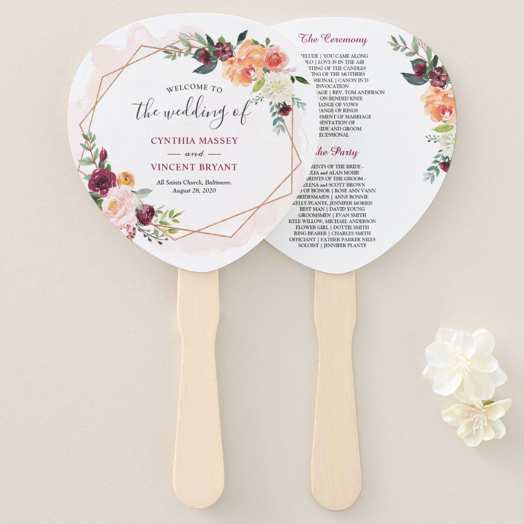 Modern Gold Frame Bloom Floral Wedding Program Hand Fan