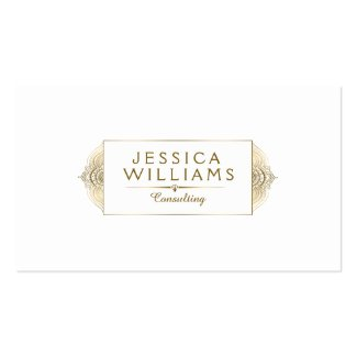 Modern Gold Frame Delicate Lace Accent Double-Sided Standard Business Cards (Pack Of 100)