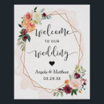 "Modern Gold Frame Floral Wedding Welcome Sign<br><div class=""desc"">Modern Gold Frame Floral Wedding Welcome Sign Poster. (1) The default size is 8 x 10 inches, you can change it to any size. (2) For further customization, please click the &quot;customize further&quot; link and use our design tool to modify this template. (3) If you need help or matching items,...</div>"