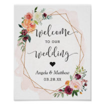 Modern Gold Frame Floral Wedding Welcome Sign