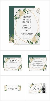 Modern Gold Frame Ivory Green Floral Invite Suite