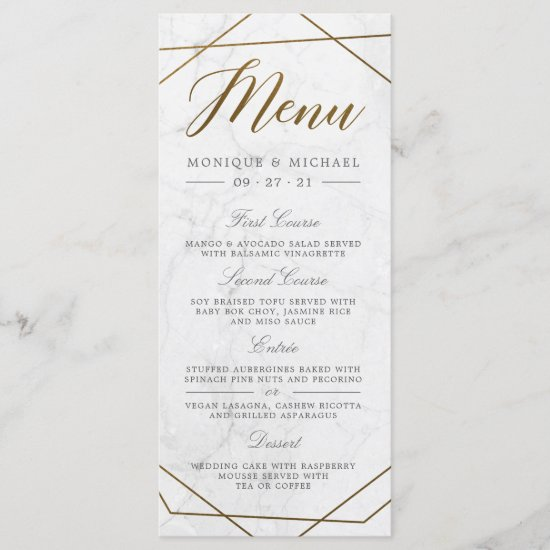 Modern Gold Geometric Art Deco Marble Wedding Menu