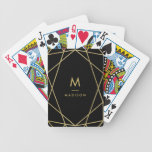 Modern Gold Geometric Pattern on Black | Monogram Bicycle Playing Cards<br><div class='desc'>This modern design features a deep black background,  with a faux gold look geometric pattern plus your name and initial in the center.</div>