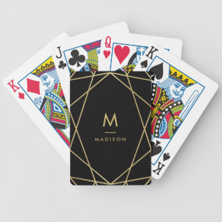 Modern Gold Geometric Pattern On Black | Monogram Bicycle Playing Cards at Zazzle