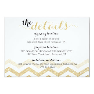 Modern Gold Glamour Chevron Information Card