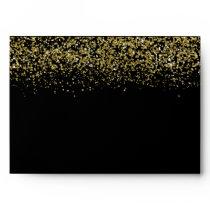 Modern Gold Glitter Black Elegant 5x7 Envelope