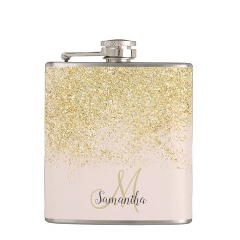 Modern gold glitter blush pink monogram flask