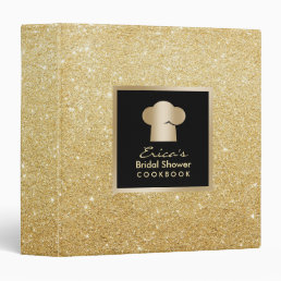 Modern Gold Glitter Bridal Shower Cookbook Recipe 3 Ring Binder