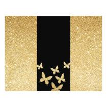 Modern Gold Glitter Butterflies Trifold Brochure