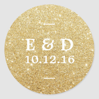Modern Gold Glitter Elegant Wedding Favor Classic Round Sticker