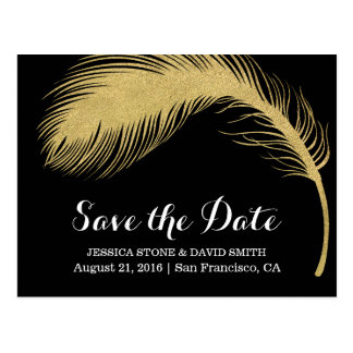 Modern Gold Glitter Feather Wedding Save the Date Postcard
