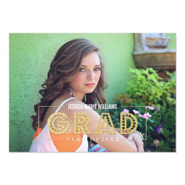 Modern Gold Glitter Graduation Invitations