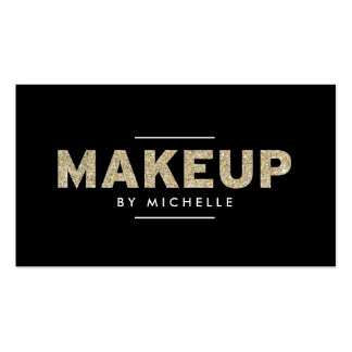 Modern Gold Glitter II Makeup Artist Double-Sided Standard Business Cards (Pack Of 100)