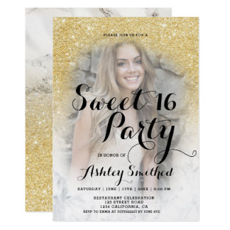 Modern gold glitter marble ombre photo Sweet 16 Card