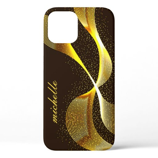 Modern Gold Glitter Monogram Customizable Name iPhone 12 Pro Case