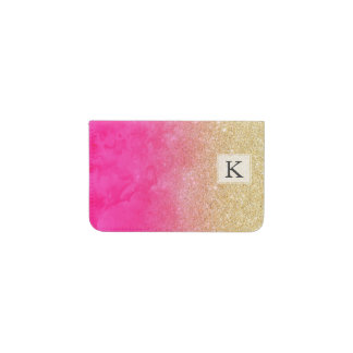 Modern gold glitter ombre neon pink watercolor business card holder