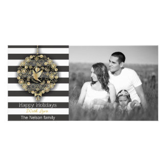 Modern Gold Glitter Ornament and Striped Christmas Photo Card