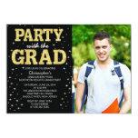 """Modern Gold Glitter Photo Graduation Party Invite 5"""" X 7"""" Invitation Card"""