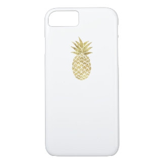 Modern Gold Glitter Pineapple Logo Classy White iPhone 7 Case
