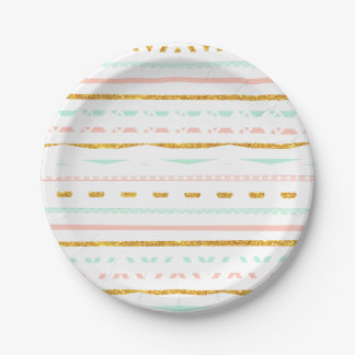 Modern Gold Glitter Pink Mint girly Aztec Pattern 7 Inch Paper Plate