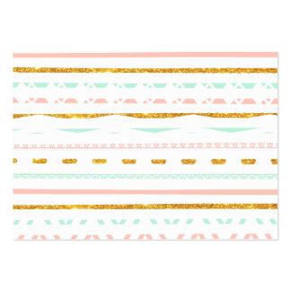 Modern Gold Glitter Pink Mint girly Aztec Pattern Large Business Cards (Pack Of 100)