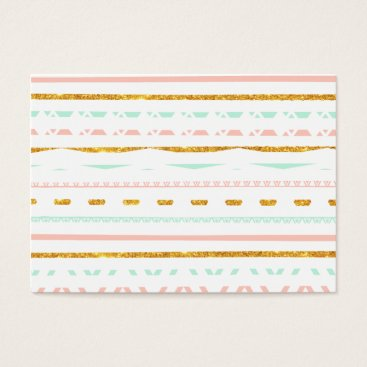 Aztec Themed Modern Gold Glitter Pink Mint girly Aztec Pattern Business Card