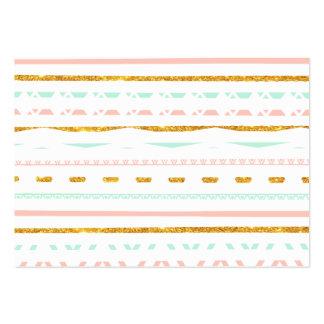 Modern Gold Glitter Pink Mint girly Aztec Pattern Large Business Card