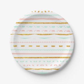 Modern Gold Glitter Pink Mint girly Aztec Pattern Paper Plate