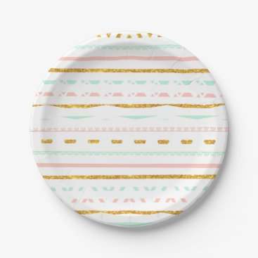 Aztec Themed Modern Gold Glitter Pink Mint girly Aztec Pattern Paper Plate