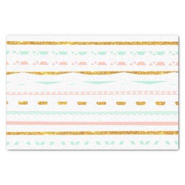 Aztec Themed Modern Gold Glitter Pink Mint girly Aztec Pattern Tissue Paper