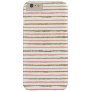 Modern Gold Glitter Pink Stripe iPhone 6 PLUS Case
