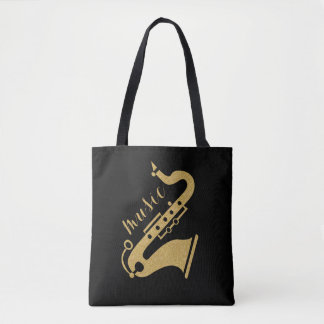 Modern Gold Glitter Saxophone Music Text Design Tote Bag