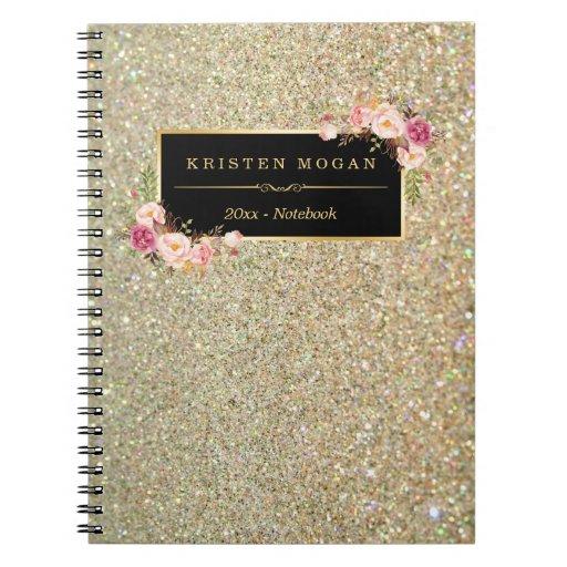 Modern Gold Glitter Sparkles Girly Floral Spiral Notebook
