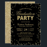 """Modern Gold Glitter Sparkles Graduation Party Card<br><div class=""""desc"""">Celebrate your graduation with this &quot;Modern Gold Glitter Sparkles Graduation Party Invitation&quot; template. It&#39;s easy to customize to be uniquely yours and send to your guests in style! (1) For further customization, please click the &quot;customize further&quot; link and use our design tool to modify this template. (2) If you need...</div>"""